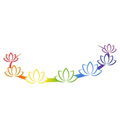 Yoga emblem with abstract chakra lotuses isolated vector