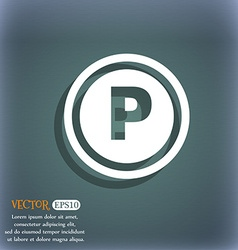 Car parking icon symbol on the blue-green abstract vector