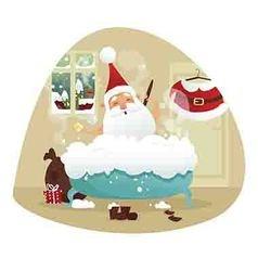 Santa taking a bath vector image