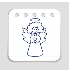 Doodle christmas angel icon vector