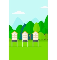 Background of beehives in meadow vector