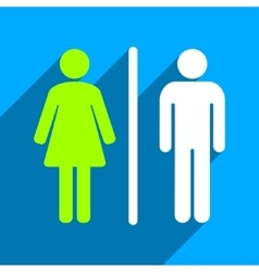 Wc people flat square icon with long shadow vector
