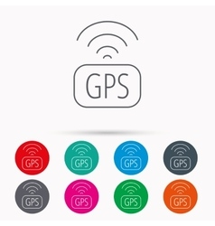 Gps navigation icon map positioning sign vector