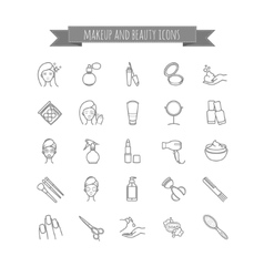 Set of beauty make up and cosmetics icons vector
