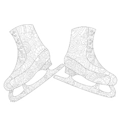 A pair of skates coloring for adults vector