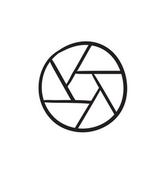 Camera shutter sketch icon vector