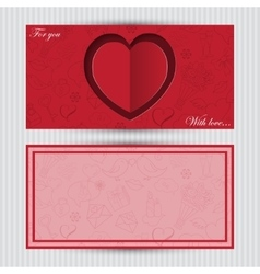 Card with red heart and love symbol vector image vector image