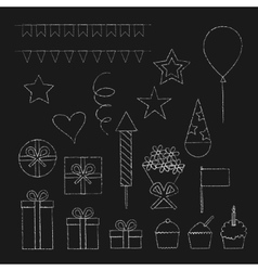 Chalk birthday party icons set vector