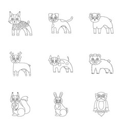 farm zoo ecology and other web icon in outline vector image