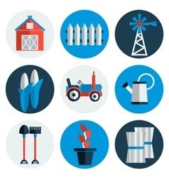 Farming flat icons vector image