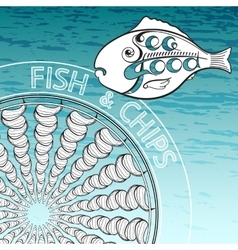 Fish and chips on aquamarine background vector
