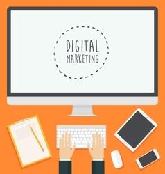 Flat design concept web digital marketing trendy vector