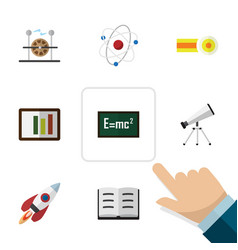 Flat icon study set of theory of relativity vector