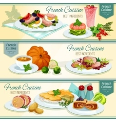 French cuisine popular food banner set design vector