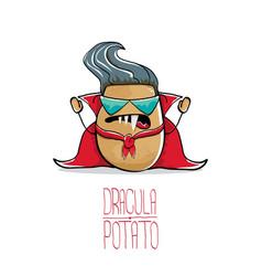 Funny cartoon cute dracula potato with vector