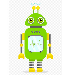 green cheerful cartoon robot character vector image