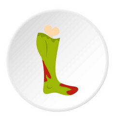 Green foot of zombie in the blood icon circle vector