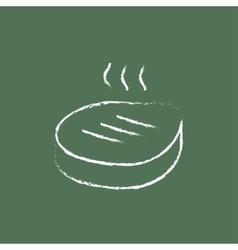 Grilled steak icon drawn in chalk vector