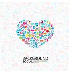 heart template design with social network icons vector image