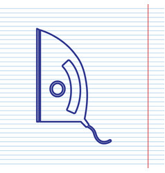 Iron sign navy line icon on notebook vector
