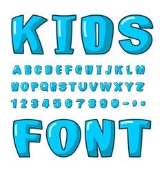 Kids font Voluminous blue letters ABC for kids vector image
