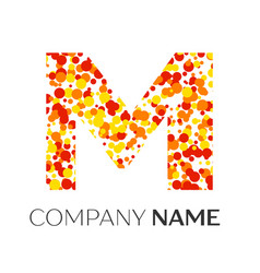 letter m logo with orange yellow red particles vector image vector image