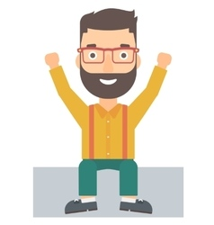 Man sitting with raised hands up vector image