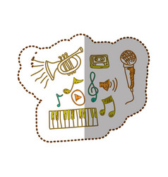 Music instrument with notes musicals icon vector