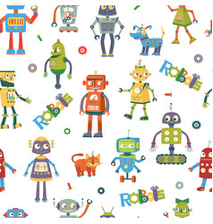 robots cartoon seamless pattern vector image vector image