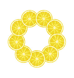 Round frame of lemon slice citrus lemon frame vector