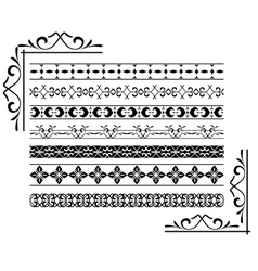 set - black decorative borders vector image vector image