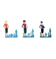 Set of character business woman on background of vector