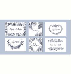 Set of hand drawn winter seasonal backgrounds vector
