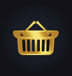 Shopping cart basket buy gold logo vector