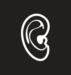 Stylish black and white icon human ear vector