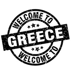 Welcome to greece black stamp vector