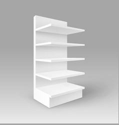 White exhibition stand shop rack with shelves vector