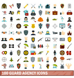 100 guard agency icons set flat style vector
