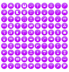 100 tools icons set purple vector