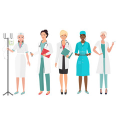 set of female doctors in different poses woman vector image