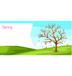 Spring landscape with tree and sakura flowers vector