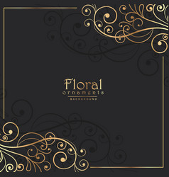 golden floral frame on dark background vector image