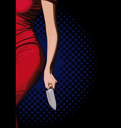 Girl with a knife vector
