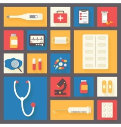 Medical icons set ambulance and stethoscope vector