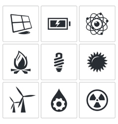 Energy icons set vector