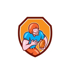 American football receiver running ball shield vector