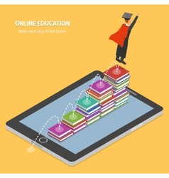 Online education flat isometric concept vector