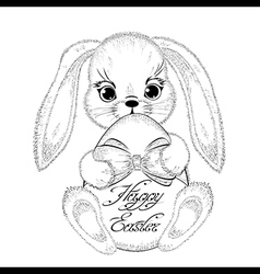 Hand drawn easter rabbit with paschal egg vector