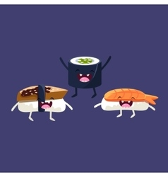 Sushi and miso soup cartoon friends vector