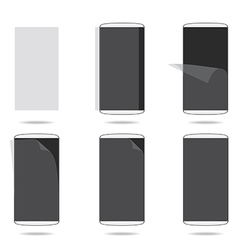 White smartphones screen with protector glass set vector